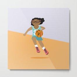 Positively Girly - Basketball girl - black skin Metal Print