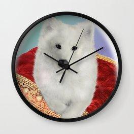 Samoyed Portrait; Taylor on Royal Cushion--Oval Wall Clock