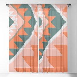 Native orange Sheer Curtain