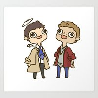 destiel Art Prints featuring Destiel 2 by PrettyOddChild