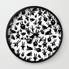 Black bunnies Wall Clock