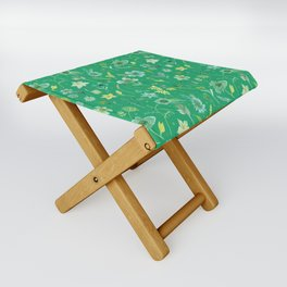 Verdant Flowers on Emerald Background Folding Stool