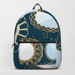 Retro Rattan Midcentury Mirrors in Dark Teal Backpack