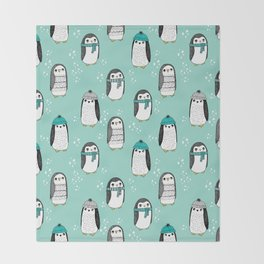 Christmas penguin cute animal pattern winter holiday gifts mint Throw Blanket