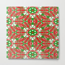 Red, Green and White Kaleidoscope 3376 Metal Print