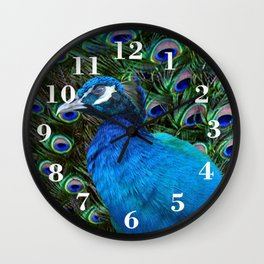 Blue Peacock and Feathers Wall Clock