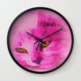 Pink Kitten Paint Wall Clock