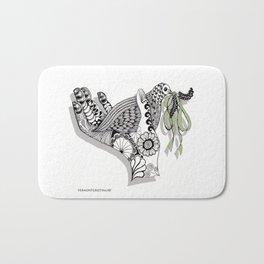 Zentangle Illustration - Peace Dove  Bath Mat