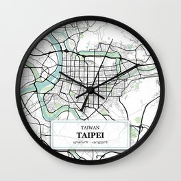 Taipei Taiwan City Map with GPS Coordinates Wall Clock