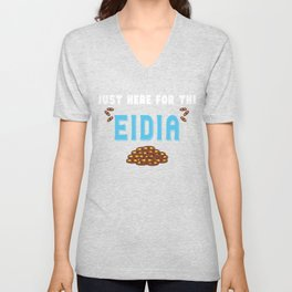 Kids Funny Eid T-Shirt Just Here For The Eidia Money Gifts Unisex V-Neck