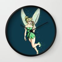 tinker bell Wall Clocks featuring Tinker Bell Selfie by Hungry Designs