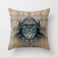 monkey Throw Pillows featuring Monkey by Zandonai
