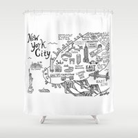 new york map Shower Curtains featuring New York City Map by Claire Lordon