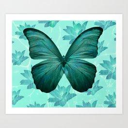 butterfly vintage green  Art Print