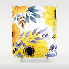 FLOWERS WATERCOLOR 10 Shower Curtain