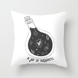 A Jar of Happiness Throw Pillow