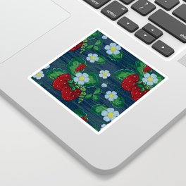 Strawberries and Daisies - Strawberry Patch  - Fruit Sticker
