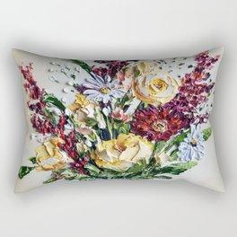 Autumn Floral Bouquet, Mustard Flowers in White Vase Rectangular Pillow