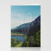 never stop exploring Stationery Cards featuring Never Stop Exploring by Leah Flores