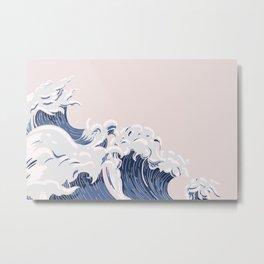 Ocean Wave on Pink Metal Print