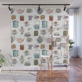 Vintage Teacups and Teapots white background Wall Mural