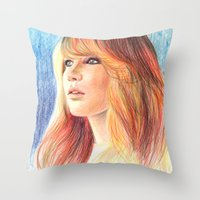 jennifer lawrence Throw Pillows featuring Jennifer Lawrence by xDontStopMeNow