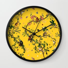 Monkey World Yellow Wall Clock