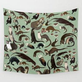 Otters of the World pattern Wall Tapestry