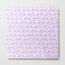 Daisies In The Summer Breeze - Lilac Grey White Metal Print