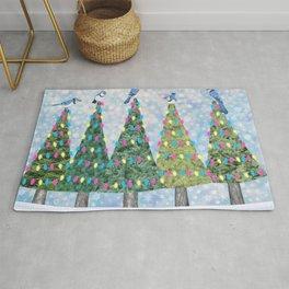 blue jays and Christmas trees Rug