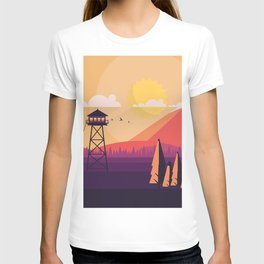 VECTOR ART LANDSCAPE WITH FIRE LOOKOUT TOWER T-shirt