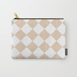 Large Diamonds - White and Pastel Brown Carry-All Pouch