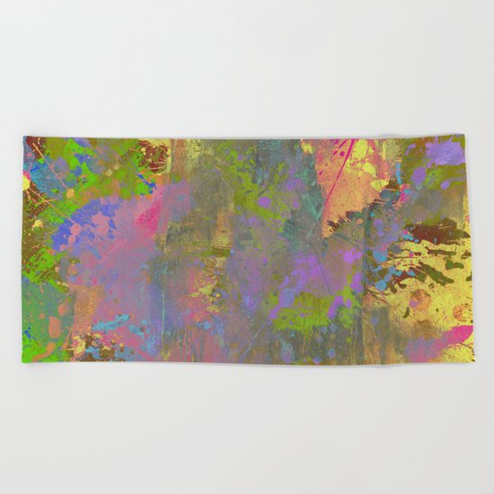Messy Art II - Abstract, pastel coloured artwork in a random, chaotic, messy style Beach Towel