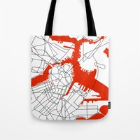 boston map Tote Bags featuring Downtown Boston Map by Studio Tesouro