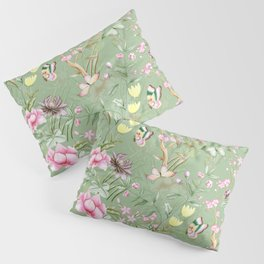 Vintage & Shabby Chic Chinoserie Pastel Spring Green Flowers And Birds Garden Pillow Sham