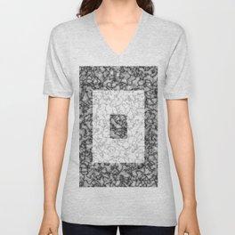 Black and white marble texture 3 Unisex V-Neck
