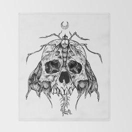 Moth Skull Throw Blanket