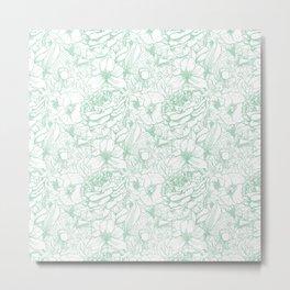 Of Peonies & Poppies - Hemlock Green Edition Metal Print