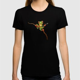 Tree Frog Playing Acoustic Guitar with Flag of Jamaica T-shirt