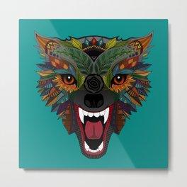 wolf fight flight teal Metal Print