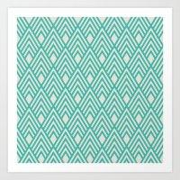 Turquoise Deco Art Print