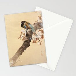 Pheasant On The Cherry Tree - Japanese Vintage Woodblock Print Stationery Cards
