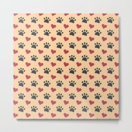 Dog paw heart Metal Print