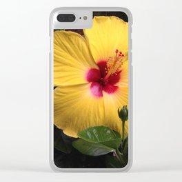 Habiscus yellow flower power Clear iPhone Case