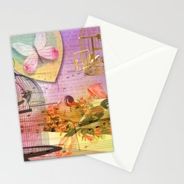 Beautiful Birds & Cages Colorful & Vintage Stationery Cards
