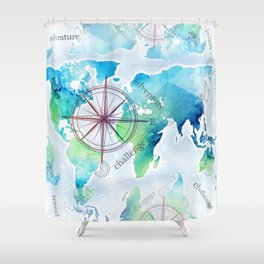 Watercolor map Shower Curtain