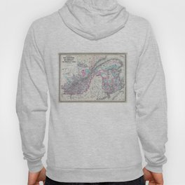 Vintage Map of Quebec and New Brunswick (1870) Hoody