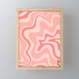 Liquid Swirl Abstract in Soft Pink Framed Mini Art Print