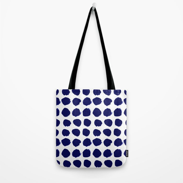 Aria - indigo brushstroke dot polka dot minimal abstract painting pattern painterly blue and white  Tote Bag