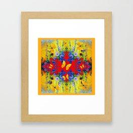 WESTERN  GARDEN  FLOWERS YELLOW BUTTERFLIES PATTERN ART Framed Art Print